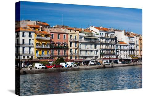 Old Port Waterfront with Buildings in the Background, Sete, Herault, Languedoc-Roussillon, France--Stretched Canvas Print