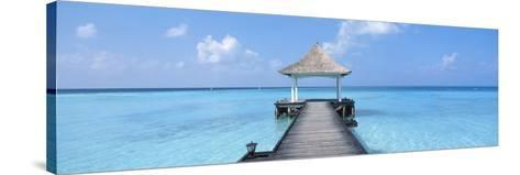 Beach and Pier the Maldives--Stretched Canvas Print