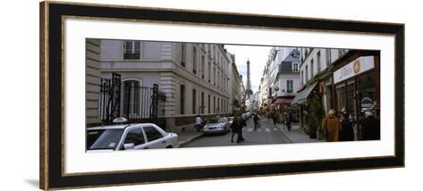 Buildings Along a Street with a Tower in the Background, Rue Saint Dominique, Eiffel Tower--Framed Art Print