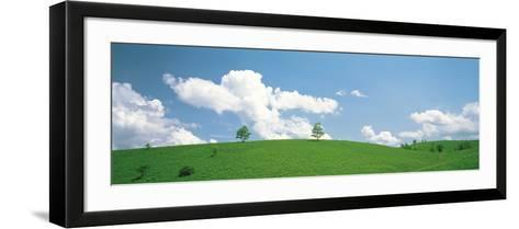 Grassland with Blue Sky and Clouds--Framed Art Print