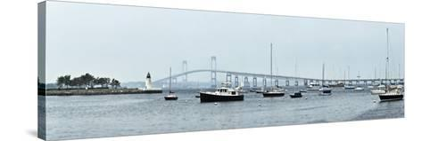 Goat Island Lighthouse with Claiborne Pell Bridge in the Background, Newport, Rhode Island, USA--Stretched Canvas Print