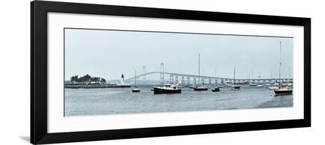 Goat Island Lighthouse with Claiborne Pell Bridge in the Background, Newport, Rhode Island, USA--Framed Art Print