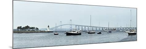 Goat Island Lighthouse with Claiborne Pell Bridge in the Background, Newport, Rhode Island, USA--Mounted Photographic Print