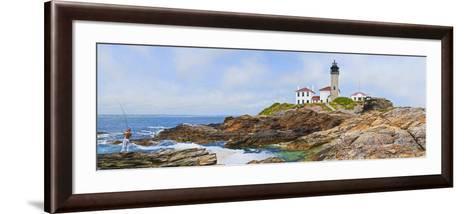 Lighthouse on the Coast, Beavertail Lighthouse, Narragansett Bay, Jamestown Island--Framed Art Print