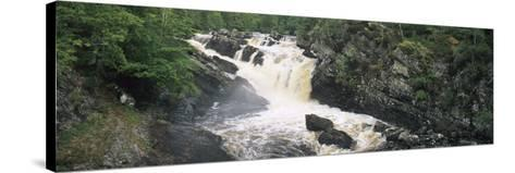 Waterfall in a Forest, Rogie Falls, Black Water River, Inverness, Ross and Cromarty--Stretched Canvas Print