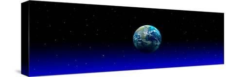 Earth in Space with Blue Mist (Photo Illustration)--Stretched Canvas Print