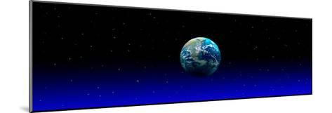 Earth in Space with Blue Mist (Photo Illustration)--Mounted Photographic Print