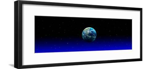 Earth in Space with Blue Mist (Photo Illustration)--Framed Art Print