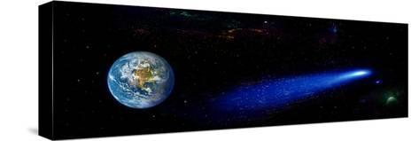 Earth in Space with Comet (Photo Illustration)--Stretched Canvas Print