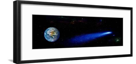 Earth in Space with Comet (Photo Illustration)--Framed Art Print