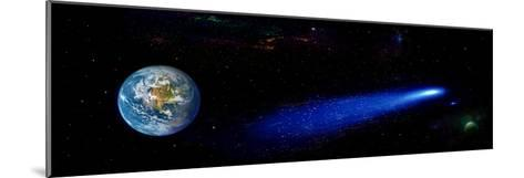 Earth in Space with Comet (Photo Illustration)--Mounted Photographic Print