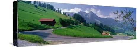 Mountain Road Jaunpass Switzerland--Stretched Canvas Print