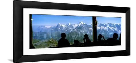 Tourists at Schilthorn 007 Restaurant with Mt Eiger Mt Monch Mt Jungfrau in the Background--Framed Art Print