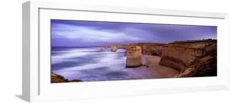 Rock Formations in the Sea, Twelve Apostles Sea Rocks, Great Ocean Road--Framed Art Print