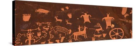 Detail of Ancient Petroglyphs Newspaper Rock Utah USA--Stretched Canvas Print