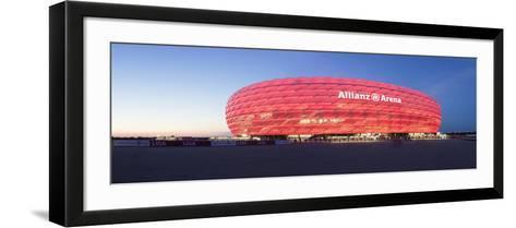 Soccer Stadium Lit Up at Dusk, Allianz Arena, Munich, Bavaria, Germany--Framed Art Print