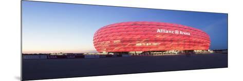 Soccer Stadium Lit Up at Dusk, Allianz Arena, Munich, Bavaria, Germany--Mounted Photographic Print