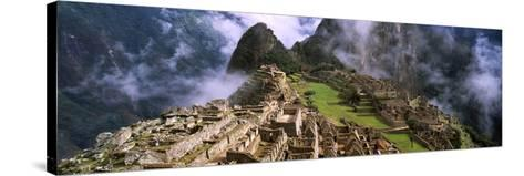 High Angle View of an Archaeological Site, Inca Ruins, Machu Picchu, Cusco Region, Peru--Stretched Canvas Print