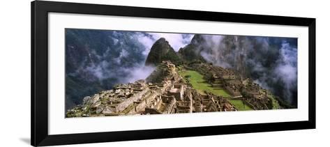 High Angle View of an Archaeological Site, Inca Ruins, Machu Picchu, Cusco Region, Peru--Framed Art Print