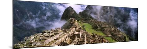 High Angle View of an Archaeological Site, Inca Ruins, Machu Picchu, Cusco Region, Peru--Mounted Photographic Print