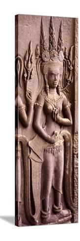 Carving of a Deity Wearing Elaborate Headdresses at Angkor Wat Temple, Angkor, Cambodia--Stretched Canvas Print