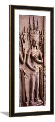 Carving of a Deity Wearing Elaborate Headdresses at Angkor Wat Temple, Angkor, Cambodia--Framed Art Print