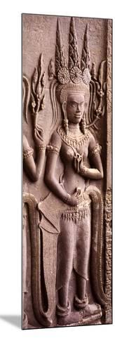 Carving of a Deity Wearing Elaborate Headdresses at Angkor Wat Temple, Angkor, Cambodia--Mounted Photographic Print