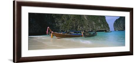 Longtail Boats Moored on the Beach, Ton Sai Beach, Ko Phi Phi Don, Phi Phi Islands, Thailand--Framed Art Print
