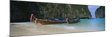 Longtail Boats Moored on the Beach, Ton Sai Beach, Ko Phi Phi Don, Phi Phi Islands, Thailand--Mounted Photographic Print