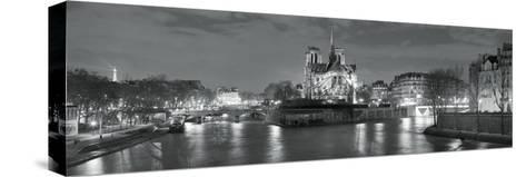 Notre Dame and Eiffel Tower at Dusk, Paris, Ile-De-France, France--Stretched Canvas Print