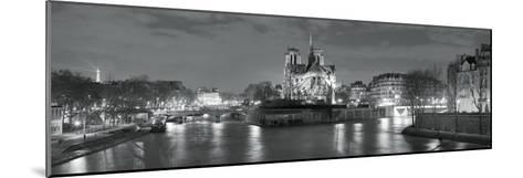 Notre Dame and Eiffel Tower at Dusk, Paris, Ile-De-France, France--Mounted Photographic Print
