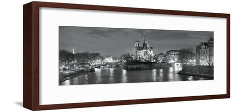Notre Dame and Eiffel Tower at Dusk, Paris, Ile-De-France, France--Framed Art Print