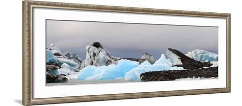 Icebergs and Volcanic Ash, Jokulsarlon Lagoon, Iceland--Framed Art Print