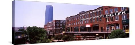 Bricktown Mercantile Building Along the Bricktown Canal with Devon Tower in Background--Stretched Canvas Print