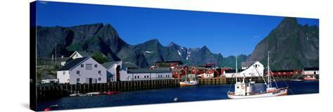 Harbor and Boats Hamnoey Lofoten Norway--Stretched Canvas Print