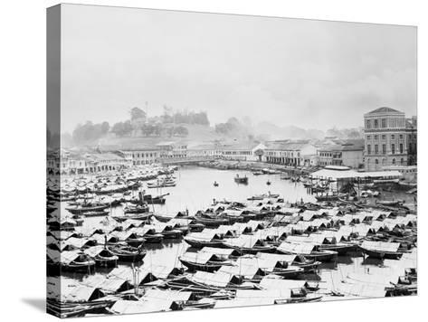 Aerial View of Boat Quai of Singapore--Stretched Canvas Print