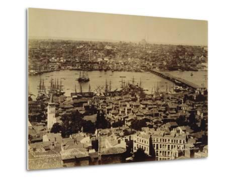Aerial View of a Bridge over the Bosporus in Istanbul--Metal Print