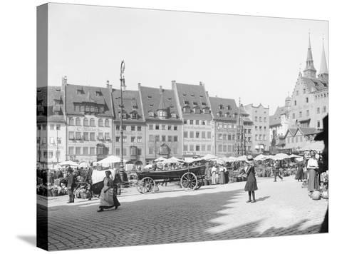 Market Place in Nuremberg--Stretched Canvas Print