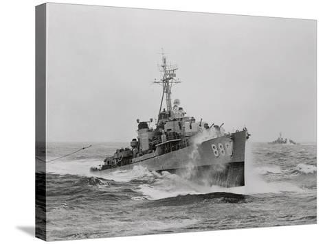 Destroyer Uss Orleck in Rough Seas--Stretched Canvas Print