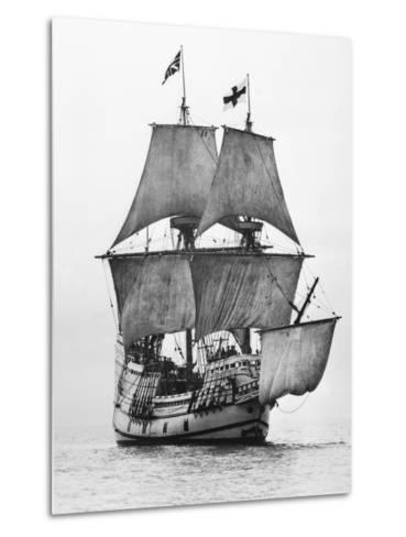 Replica of Mayflower Sailing--Metal Print
