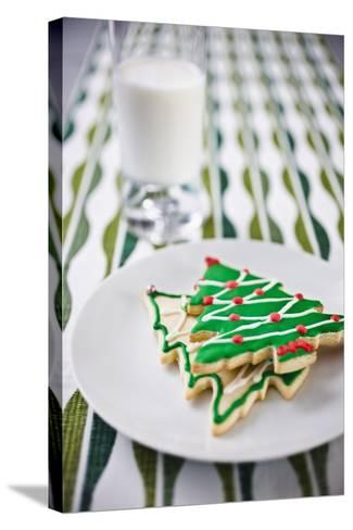 Christmas Cookies and Milk--Stretched Canvas Print