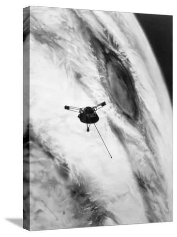 Pioneer Passing over Jupiter's Red Spot--Stretched Canvas Print