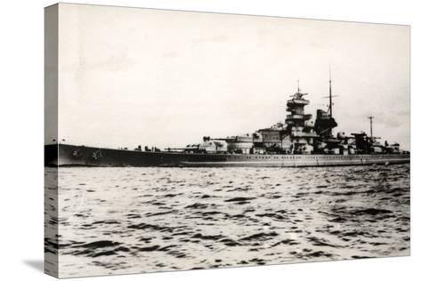 The German Battleship Gneisenau at Sea, Early in World War II--Stretched Canvas Print