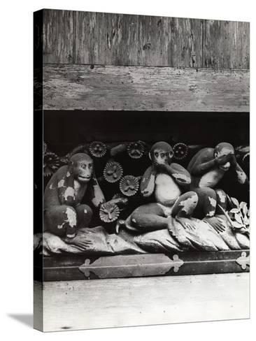 Three Wise Monkeys Sculpture at Toshugu Shrine--Stretched Canvas Print