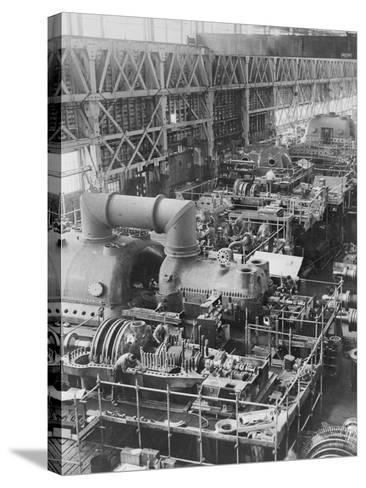 Steam Turbines Being Assembled--Stretched Canvas Print
