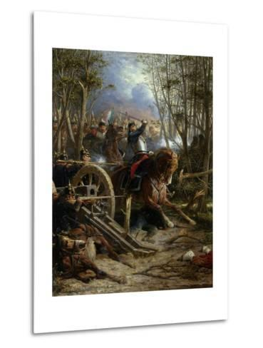 The Charge of the French Cuirassiers at Reichshof-Adolphe Yvon-Metal Print