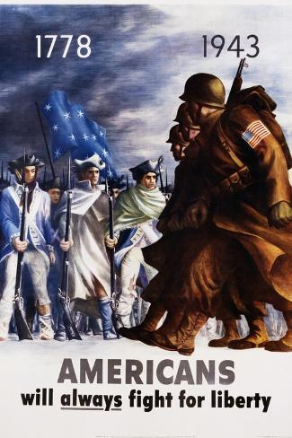 Americans Will Always Fight for Liberty Poster-Bernard Perlin-Stretched Canvas Print