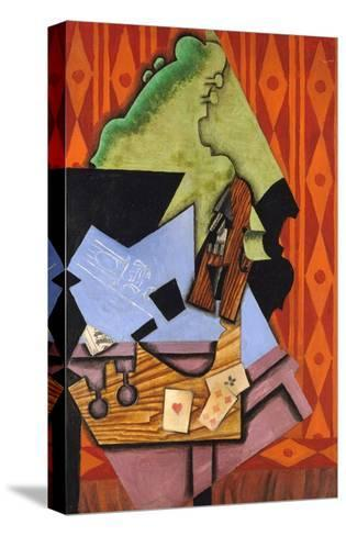 Violin and Playing Cards on a Table-Juan Gris-Stretched Canvas Print