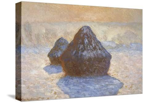 Haystacks - Snow Effect-Claude Monet-Stretched Canvas Print