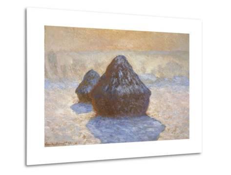 Haystacks - Snow Effect-Claude Monet-Metal Print